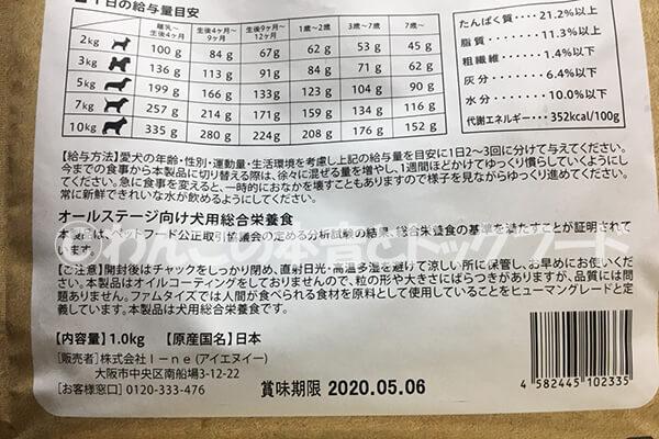 給与量の目安表の写真